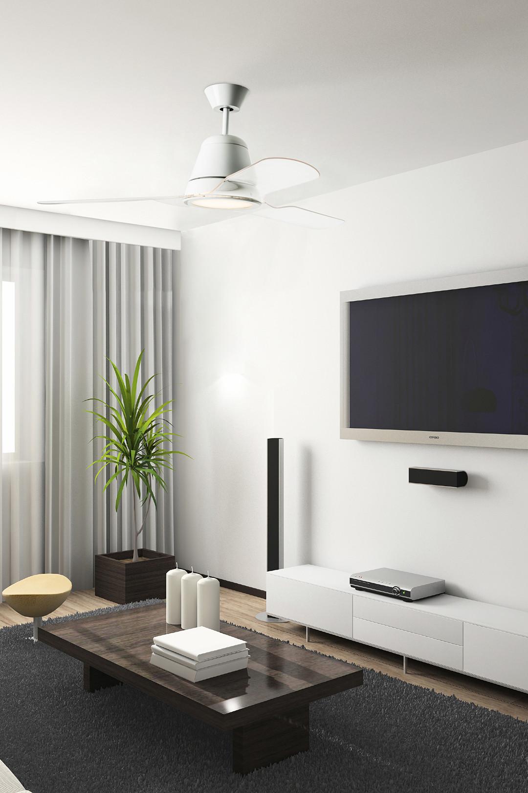 Ventilateur de plafond tiga de leds c4 moderne design 3 p le transparente ou couleur - Ventilateur plafond design ...