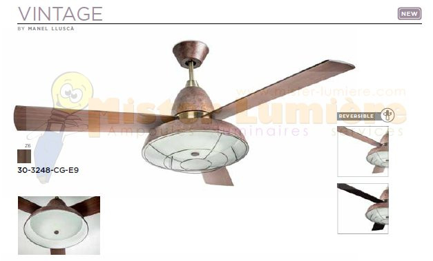 ventilateur de plafond lumineux silencieux gamme vintage marron rouille. Black Bedroom Furniture Sets. Home Design Ideas