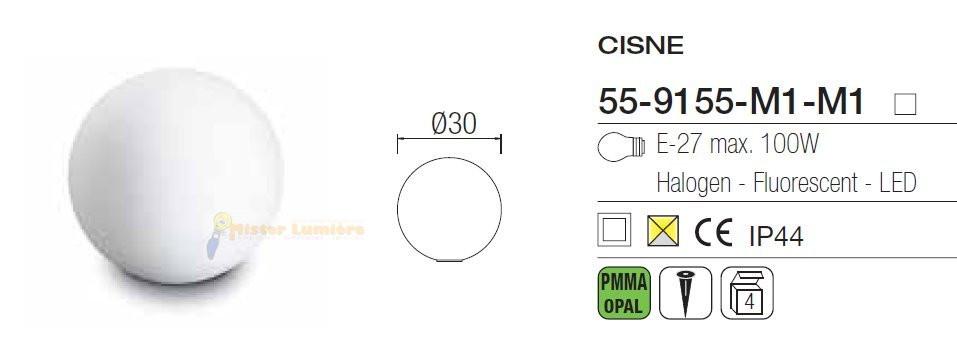 Luminaire Boule D Ext Rieur Diam Tre 30 Cm Opale