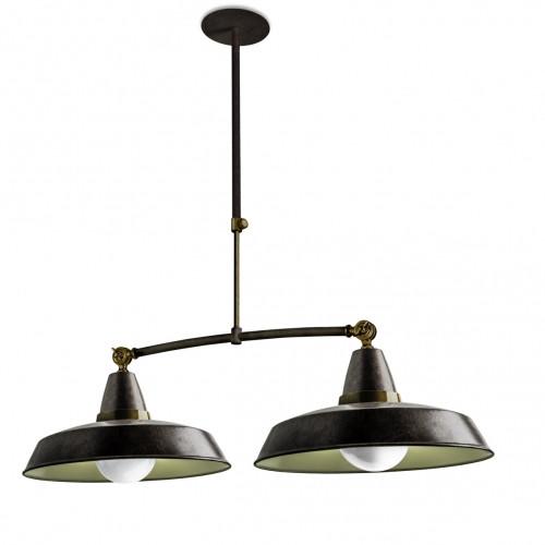 suspension vintage 2 lumi res marron rouille et cr me style industriel. Black Bedroom Furniture Sets. Home Design Ideas