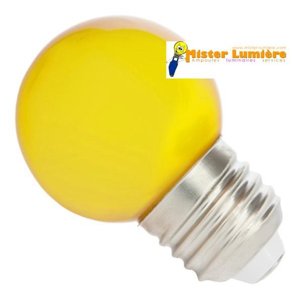ampoule led jaune sph rique ronde culot a vis e27. Black Bedroom Furniture Sets. Home Design Ideas