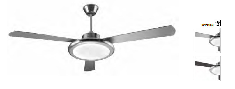 ventilateur de plafond lumineux 3 vitesses gamme bahia nickel satin. Black Bedroom Furniture Sets. Home Design Ideas