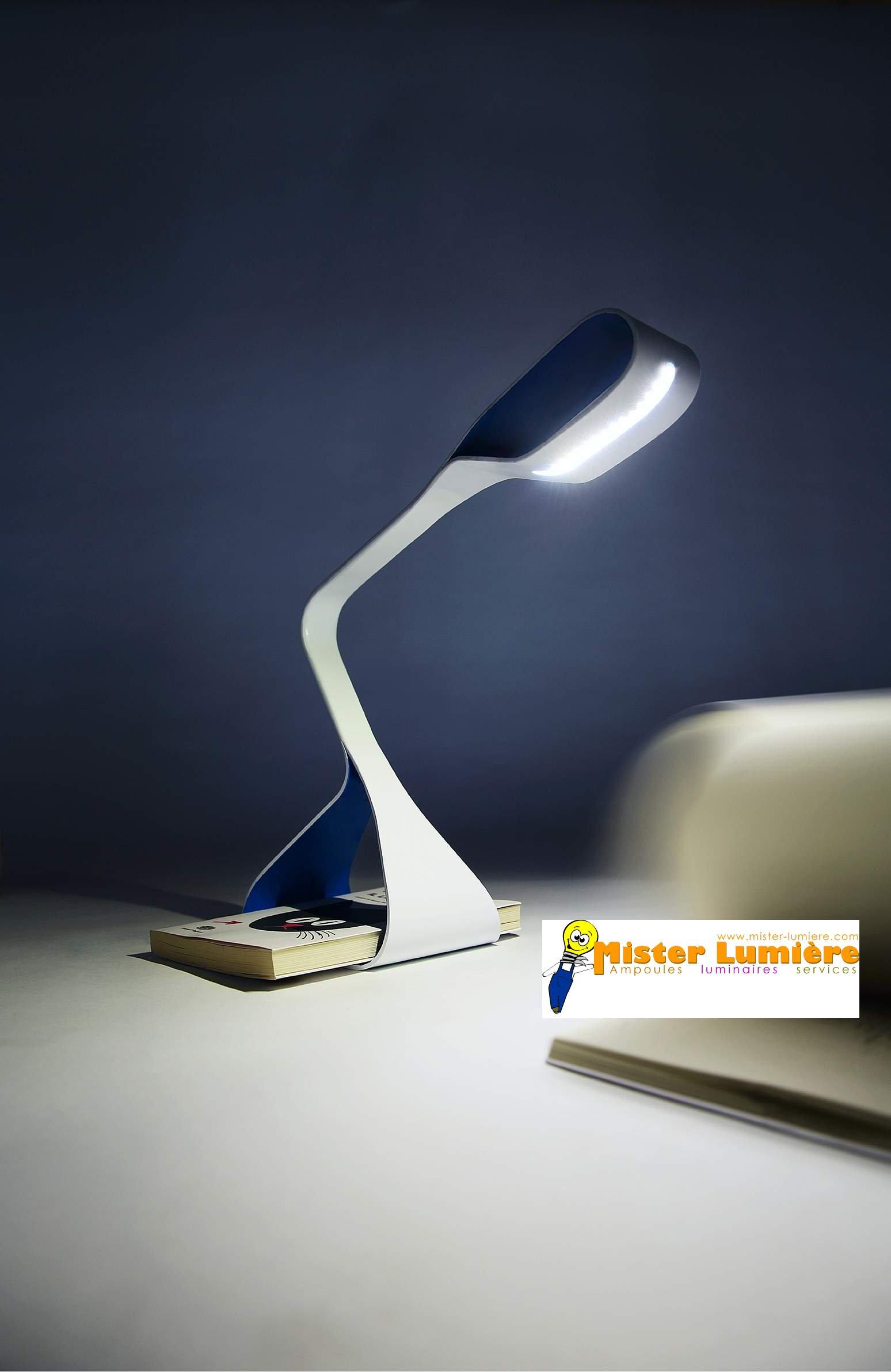 Lampe de bureau LIBRA bleu et blanc, LED,  ZAVA LUCE