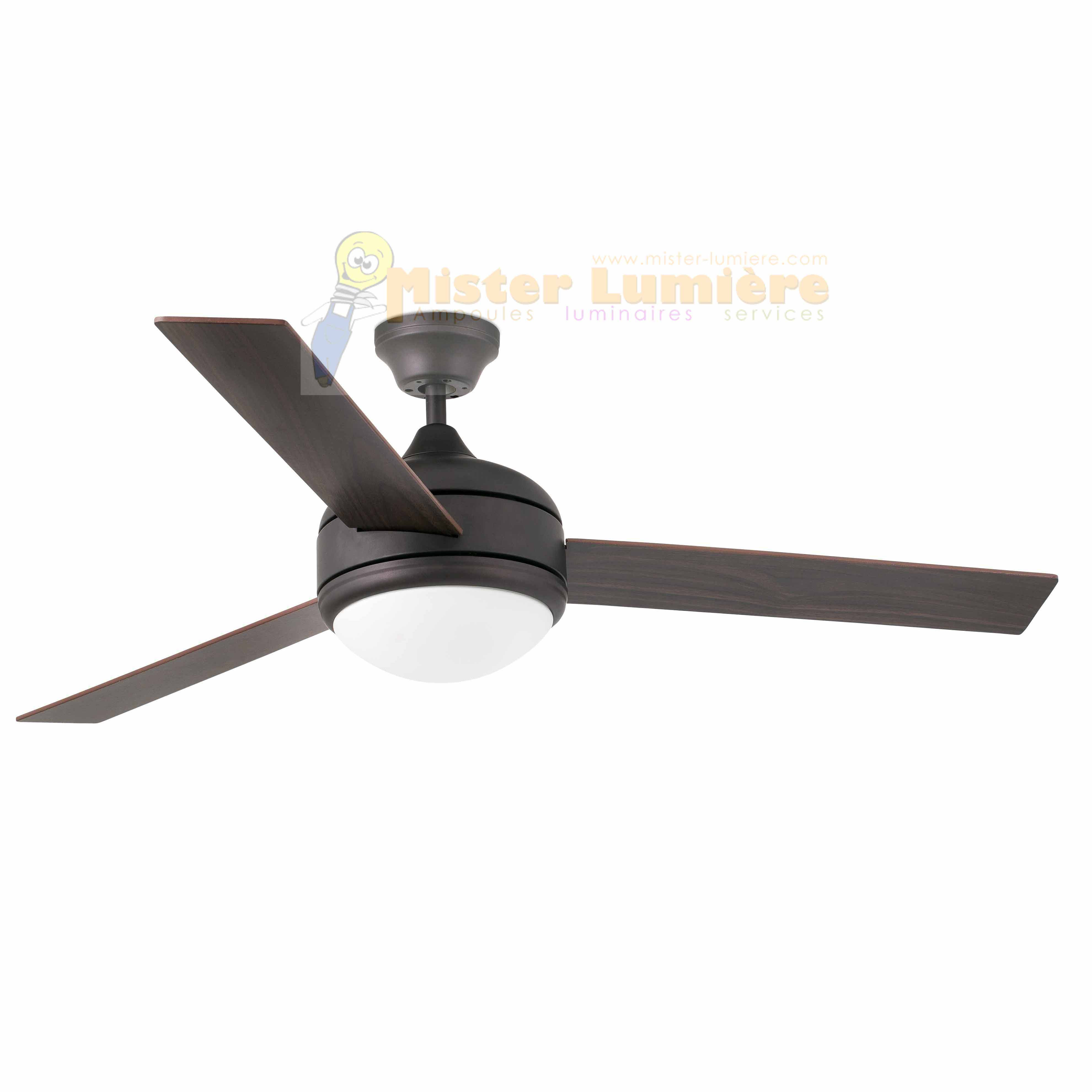 ventilateur de plafond lumineux JAVA marron 3 pales révérsibles