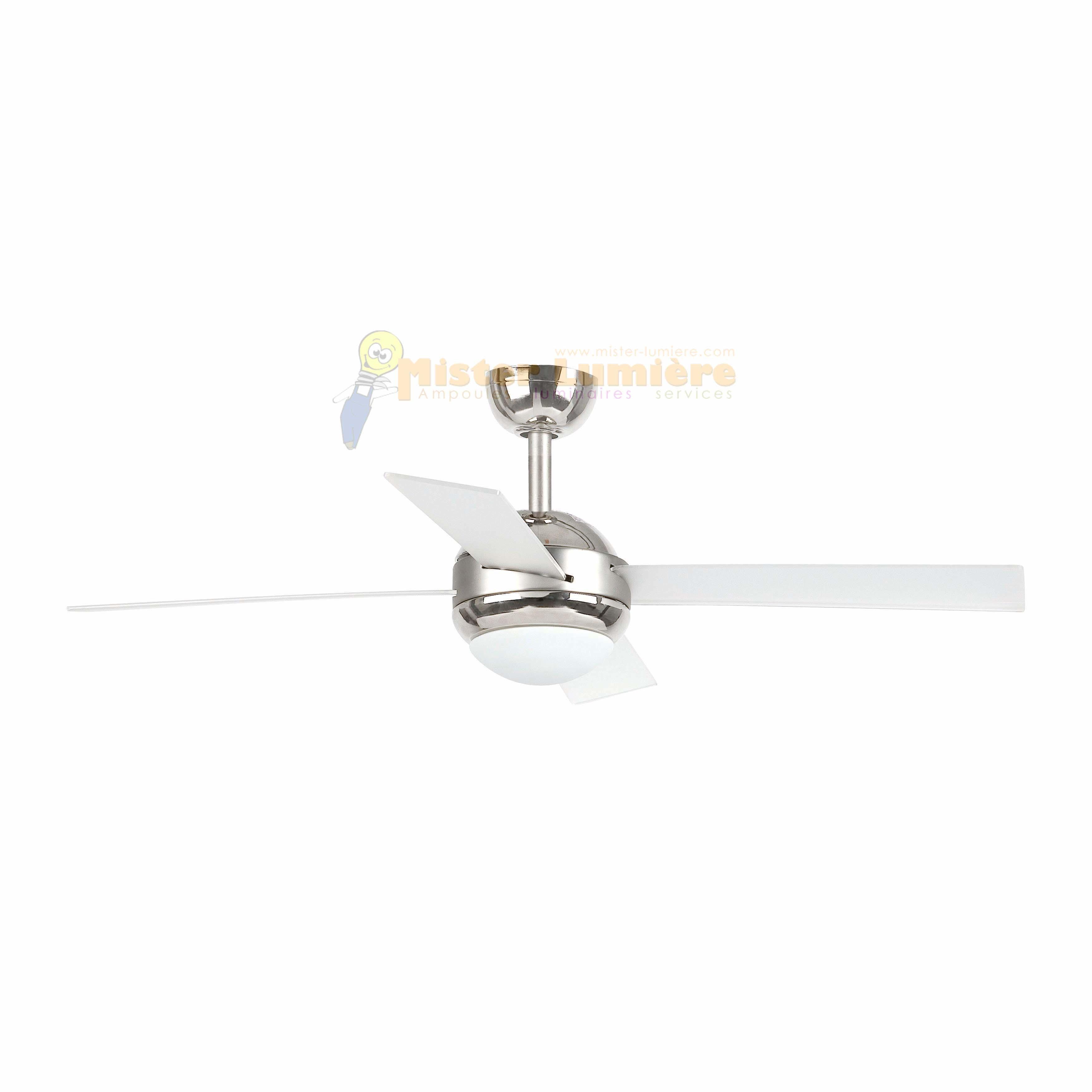 Ventilateur de plafond lumineux télécommandé HONOLULU nickel mat