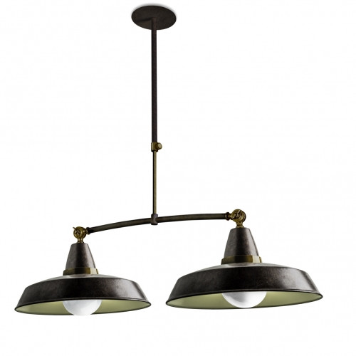 Suspension vintage 2 lumi res marron rouille et cr me style industriel - Suspension vintage industriel ...
