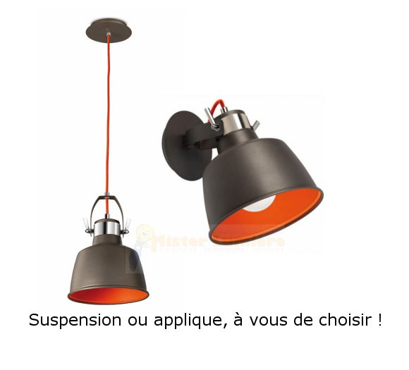 applique suspension vintage anthracite et orange e27 modulable. Black Bedroom Furniture Sets. Home Design Ideas