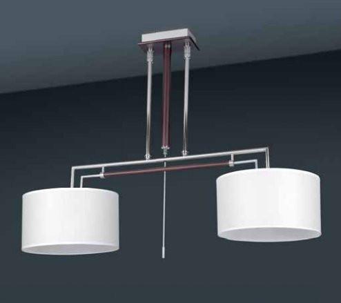 suspension chrome et bois weng abat jour blanc. Black Bedroom Furniture Sets. Home Design Ideas