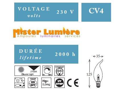 Ampoule coup de vent Girard Sudron 28 watts Ambré E14 « éco enegi ».
