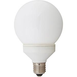 Ampoule économique, globe diamètre 95, 20 watts, culot e27, blanc chaud.
