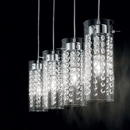 Suspension iguazu luminaire de ideal lux 4 lumi res for Lustre suspension design