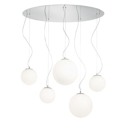 Suspension MAPA BIANCO luminaire de IDEAL LUX 5 lumières, lustre design