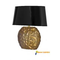 Lampe à poser en céramique gamme « savane » doré abat-jour noir