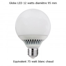 Ampoule globe LED diamètre 95 12 watt blanc chaud équivalent 75 watt.