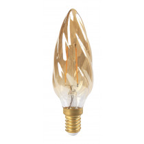 Ampoule filament LED flamme torsadé F6 3 watt ambre culot E14 LED