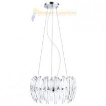 Lustre, suspension cristal et chrome 9 lumières gamme DRIFTER