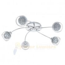 Plafonnier 5 lumières OVIEDO chrome et verre