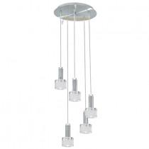 Suspension moderne 5 lumières finition chrome et verre épais, hauteur réglable