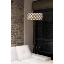 luminaire, lampadaire Alsacia marron et abat-jour tissu beige une ampoule.