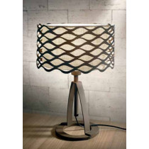 luminaire, lampe à poser Alsacia marron et abat-jour tissu beige une ampoule.