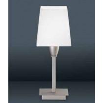 luminaire, lampe à poser Denver chrome et abat-jour tissu blanc une ampoule.