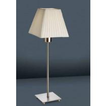 luminaire, lampe à poser  Lyon nickel satiné et abat-jour tissu beige une ampoule.