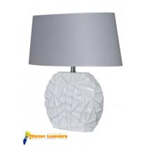 Lampe à poser en céramique gamme « sofia » petit modèle blanc/gis