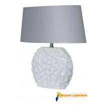 Lampe à poser en céramique gamme « sofia » grand modèle blanc/gis