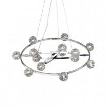 Luminaire, suspension orbital, 14 lumières chrome et verrerie