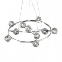 Luminaire, suspension orbital, 10 lumières chrome et verrerie