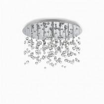 Plafonnier  Neve 8 lumières métal chromé et pampille en verre