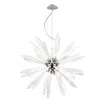 Suspension Corallo chrome et verre blanc travaillé, halogène.