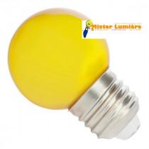 Ampoule LED de forme sphérique ronde de couleur jaune culot a vis E27
