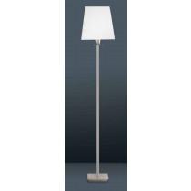 luminaire, lampadaire Denver chrome et abat-jour tissu blanc une ampoule.