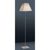luminaire, lampadaire Lyon nickel satiné et abat-jour tissu beige une ampoule.