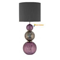 Lampe à poser en verre violet et gris gamme « salamandre » abat-jour tissus noir