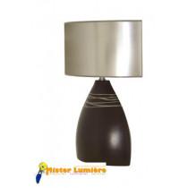 Lampe à poser en céramique gamme « siroco » petit modèle noir et gris