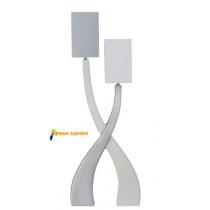 Lampe à poser en céramique gamme « sirius » grand modèle 2 lumières blanc/gis