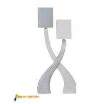 Lampe à poser en céramique gamme « sirius » petit modèle 2 lumières blanc/gis