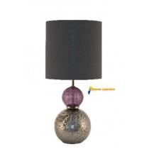 Lampe à poser en verre violet et gris gamme « sonate » abat-jour tissus noir