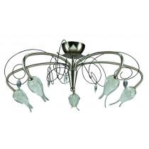 Luminaire plafonnier sorgho 5 lumières cristal, nickel, design, moderne