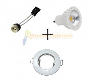 Kit spot encastré LED finition blanc 7 watt