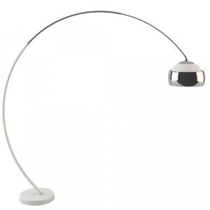 Lampadaire déporté orientable design, HOOP BALLOONS blanc mat et chrome.
